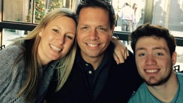 Justine Damond (left) with her fiance Don and Don's son, Zach. She fell in love with Don after listing the attributes of her ideal man.
