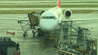 Winds wreaked havoc at Brisbane Airport as a storm hit Brisbane's north on Sunday.
