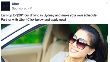 An ad that appears on Facebook for Uber drivers.