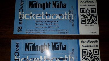 Organisers of the Midnight Mafia dance party posted a warning about fake, dark blue tickets.