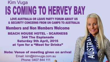 Ms Vuga's proposed event for Hervey Bay.