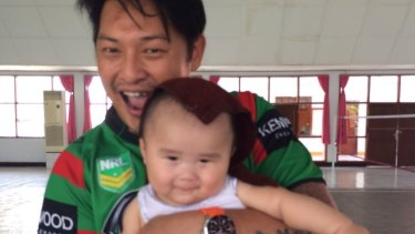 Andrew Chan with his nephew Kai at Kerobokan prison in Bali.