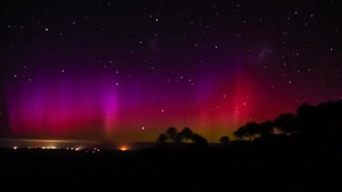 The spectacular dawn light show over Mount Barker on Monday.