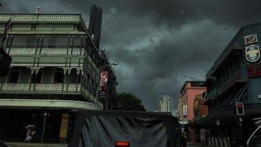 Dark clouds hang over Brisbane on Thursday morning.