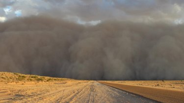 The dust storm in Bedourie, central west Queensland.