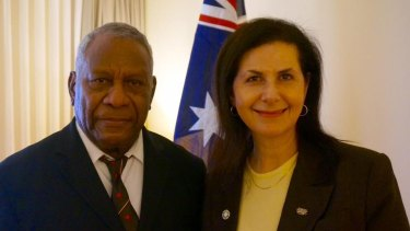 Minister for International Development and the Pacific, Concetta Fierravanti-Wells, with Vanuatu President Baldwin Lonsdale in 2016.