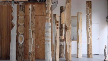 Pop&Scott's wooden pole sculptures.