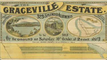 The Graceville Estate located in the south-west Brisbane suburb of Graceville, advertised in 1885.