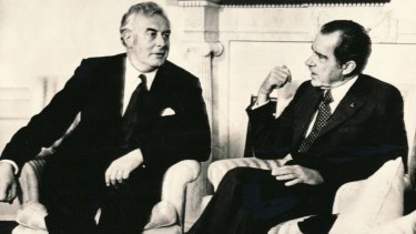 United States President Richard Nixon with Gough Whitlam in 1973.