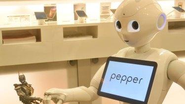Pepper robot from SoftBank Robotics Corporation in Japan.
