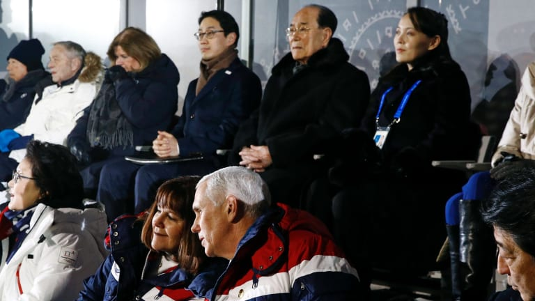 Rare assembly: US Vice President Mike Pence, bottom right, and Kim Yong Nam, second from top right, president of the Presidium of North Korean Parliament, and Kim Yo Jong, sister of North Korean leader Kim Jong-un.