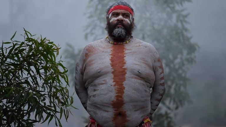 Tye Gordon, a member of the Koomurri Aboriginal Dance Troupe, during the ceremony.