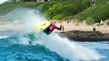 Victory: Mick Fanning has started with a win in his first surf back at Jeffreys Bay.