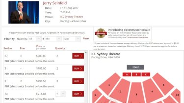 Some of the inflated prices on the Ticketmaster Resale website for Jerry Seinfeld stage show.