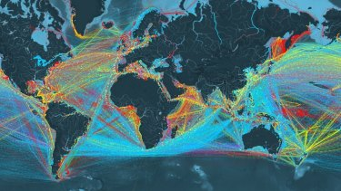 A complete map of global shipping routes.