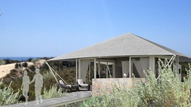 "An artist's impression of what one of the beachside ""tents"" will look like at Pinky's beach on Rottnest."