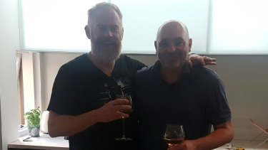Simon McIntyre (left with beard) and Daniel Hausman on Christmas Day 2016.