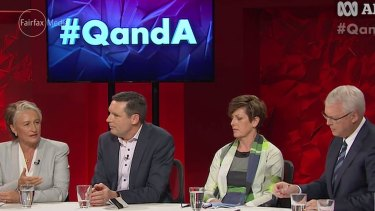 Dr Kerryn Phelps, Australian Christian Lobby managing director Lyle Shelton, Labor MP Anna Burke and Q&A host Tony Jones.