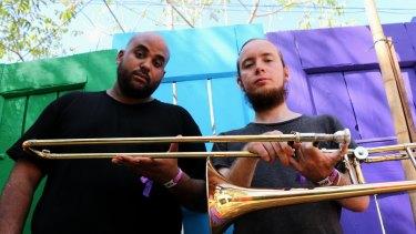 Bullhorn front man Roman Albert and trombone player Brodie McAllister.