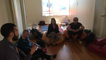 Greens MP for Melbourne, Ellen Sandell, at the Collingwood house occupied by homeless people. The house is owned by the government and was to be demolished for the abandoned East West Link tollway.