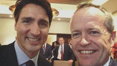 Opposition Leader Bill Shorten with Canadian Prime MinsterJustin Trudeau last month.