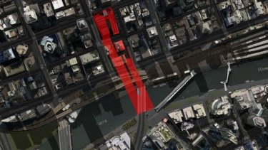 A shadow diagram of the proposed towers on Collins Street show they just overshadow the south bank of the Yarra River during the banned period.