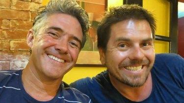 Adam Gibson, left, with longtime friend Sam de Brito.