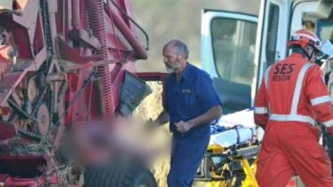 It took rescuers nearly three hours to free Don Fagg from the hay baler.