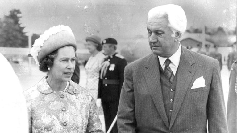 The Queen talks with the governor-general, Sir John Kerr, in 1977.