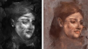 Using colour techniques to reconstruct the hidden painting.