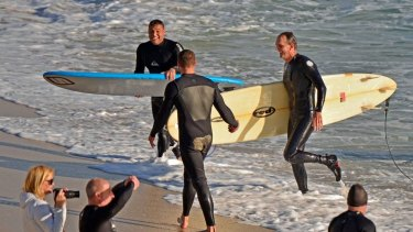 """The surfers were """"pretty buzzed"""" by their close encounter."""
