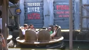 A still image from a 2013 video featuring Dreamworld's Thunder River Rapids ride.