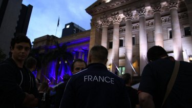 A candlelight vigil for France in King George Square, Brisbane.