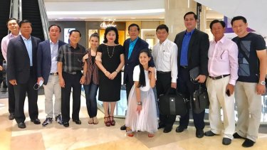 Hun Sen with family and friends in a Singapore mall this week.