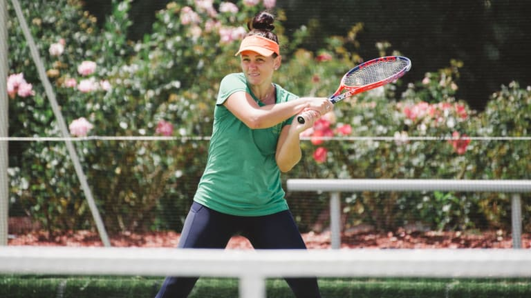 Casey Dellacqua practises in Canberra on Monday.