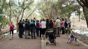 A community meeting at the bird sanctuary.
