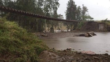 Part of railway lines heavily affected by this month's rains in the Hunter Valley.