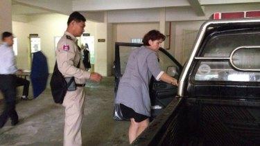 Tammy Davis-Charles arrives at a Phnom Penh court on Tuesday.