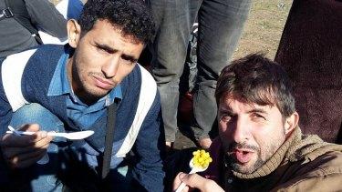 Ayham al-Ahmed (left) on his journey towards Austria.
