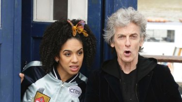 Peter Capaldi as Doctor Who with Pearl Mackie as his companion.