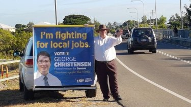 George Christensen campaigning in the Queensland seat of Dawson.