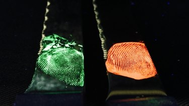 Using Dr Liang's method the prints glow under UV-light and different colours can be achieved by altering the chemistry.