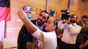 Adam Goodes at an event in Sydney to promote the Recognise campaign to change the constitution to recognise the presence of Aboriginal and Torres Strait Islanders before European settlement.