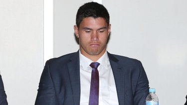 Ashen faced: Jordan McLean at the judiciary hearing before his seven-week ban after being found guilty of a dangerous throw.