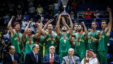 The Australian Boomers raise the FIBA Asia Cup on Monday.