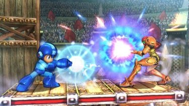 Power struggle: Mega Man and Samus power up.