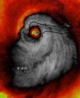 Hurricane Matthew looking like a skull in an undoctored photo.