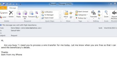 A typical Business Email Compromise scam.