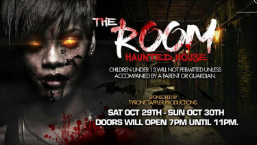 An advertisement for 'The Room', a Halloween event that was cancelled after reports it would be depicting the Orlando shooting at Pulse nightclub.