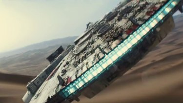 'You came in that thing? You're braver than I thought': The Millennium Falcon is more beat-up than ever.